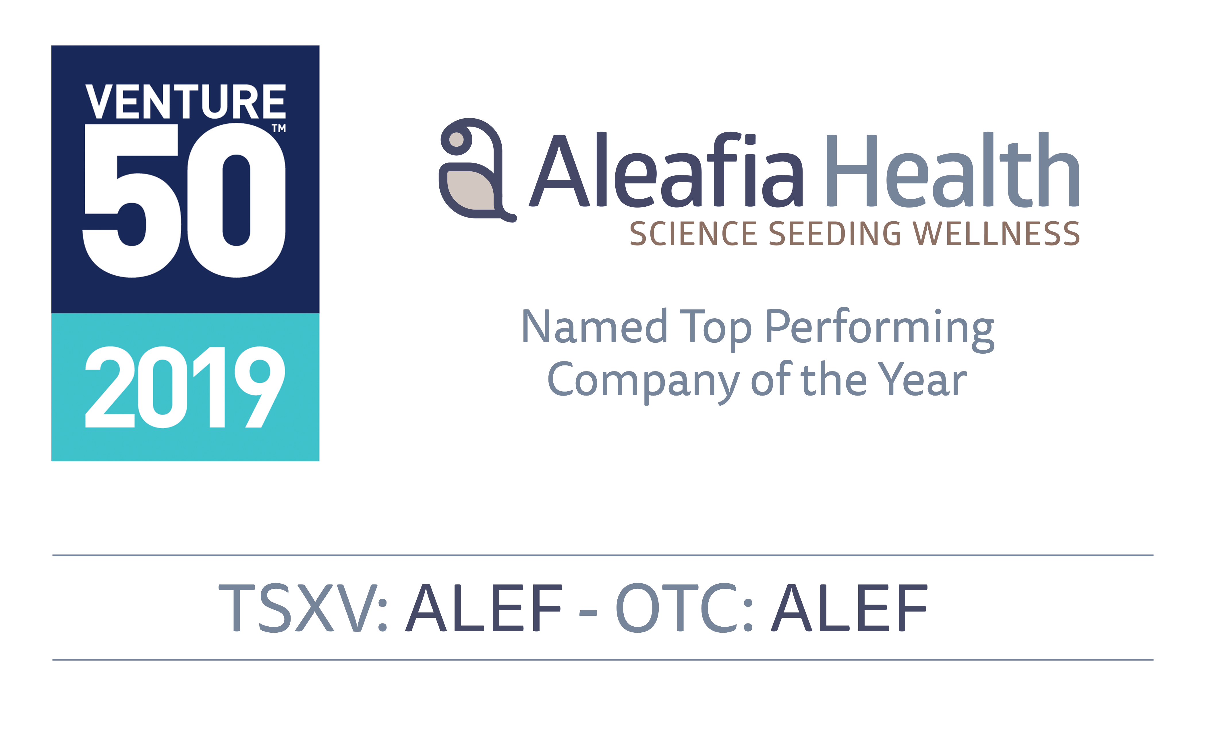 Aleafia Health Named Top Performing Company of the Year for TSX Venture 50